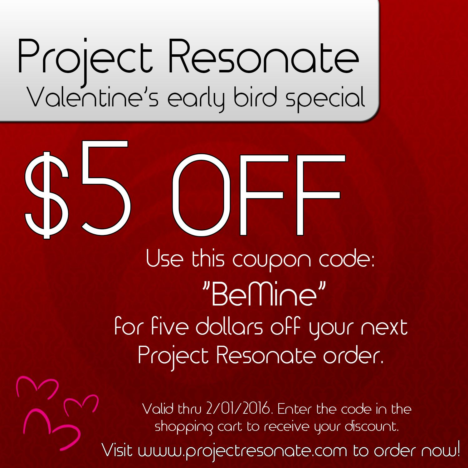 Project Resonate early bird special! Get your order in and save $5! #ValentinesDay #giftidea
