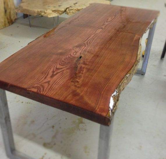 Live Edge Kitchen Table: Live Edge Catalpa Wood Slab Dining Table / Kitchen By