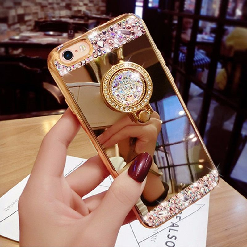 Phone Cases For iPhone 6 6S Luxury Women Diamond Mirror Case With 360 Phone  Ring Stand 93279b7d58