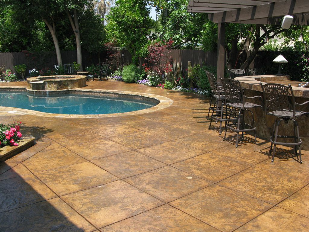 Stamped concrete swimming pool landscape design home is for Concrete pool designs