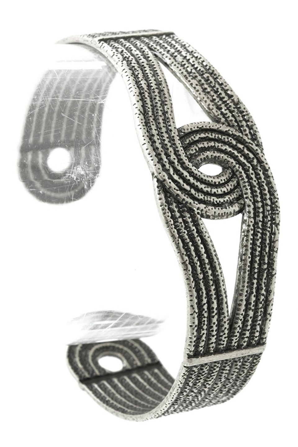 Silver Aged Knotted Rope Pattern Cuff