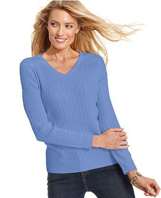 Karen Scott Sweater Long Sleeve Cable Knit Womens Sweaters