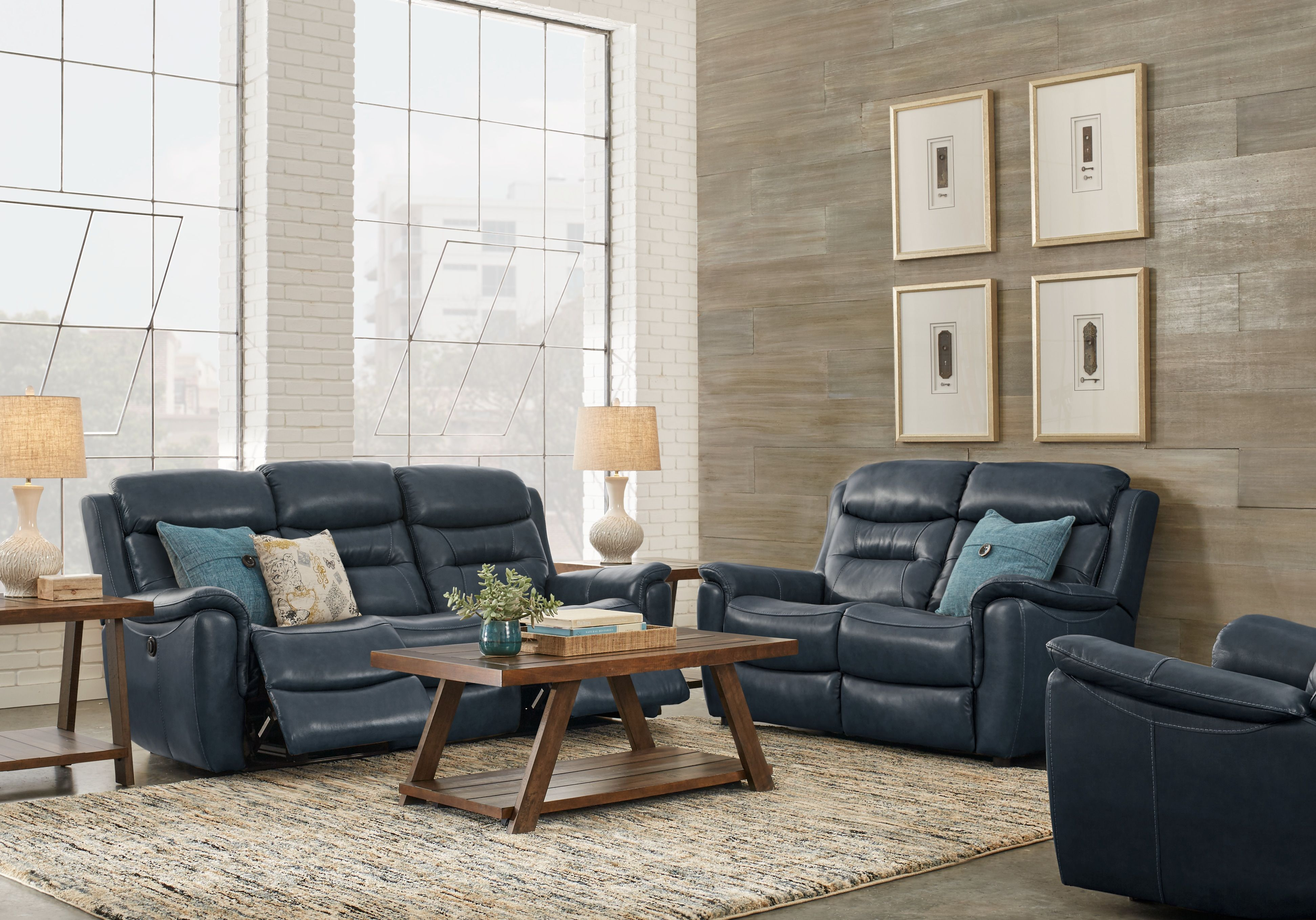Sabella Navy Leather 3 Pc Living Room With Reclining Sofa Living Room Recliner Living Room Leather Blue Leather Sofa