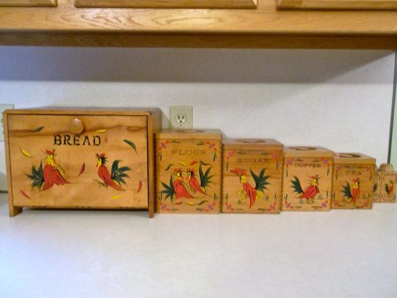 Vintage Set Of Rooster 1960s Bread Box Canister Salt And Pepper Set Tea Coffee Sugar Jars Rooster Canisters Chicken Decor