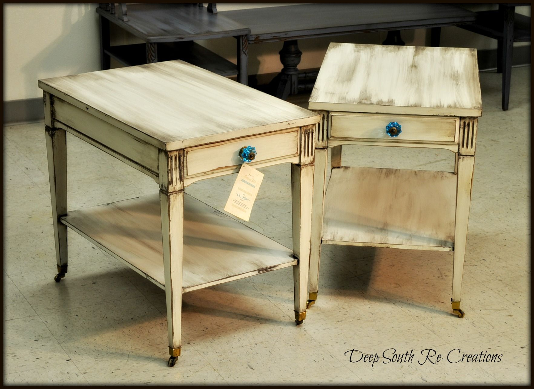 Chalk Paint Midcentury vintage Mersman end tables Vintage