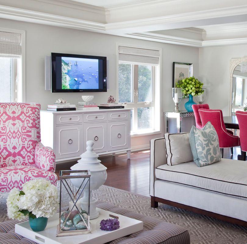 Charming Living Room Ideas · White U0026 Pink Decor