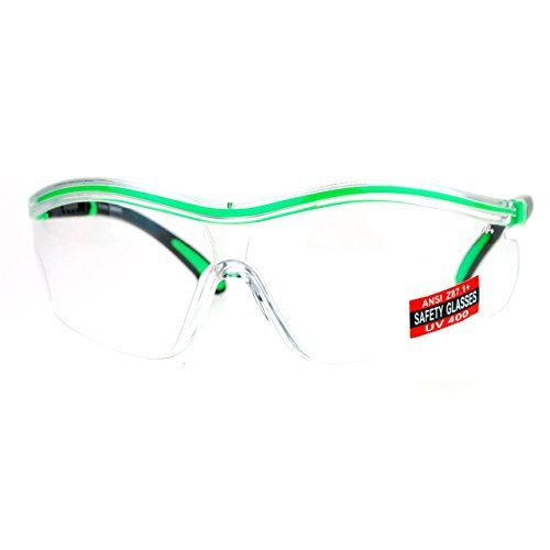 ae7c5061f9 Clear Lens Protective Safety Glasses UV 400 ANSI Z871 Adjustable Temple  Green     Be