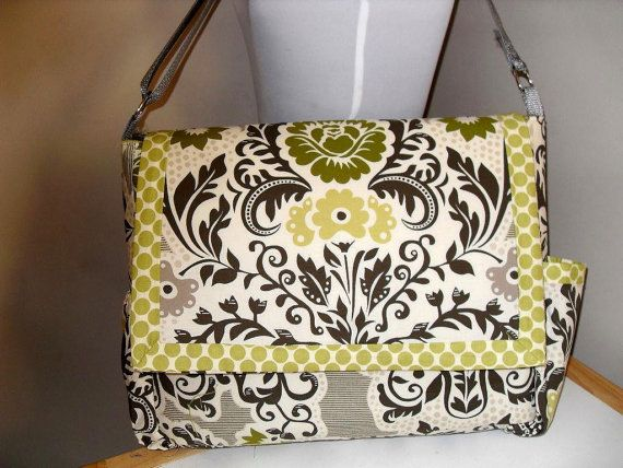 Secret Garden Messenger/Diaper Bag w/S Henderson fabric Made to Order - Priority Mail in US. $80.00, via Etsy.
