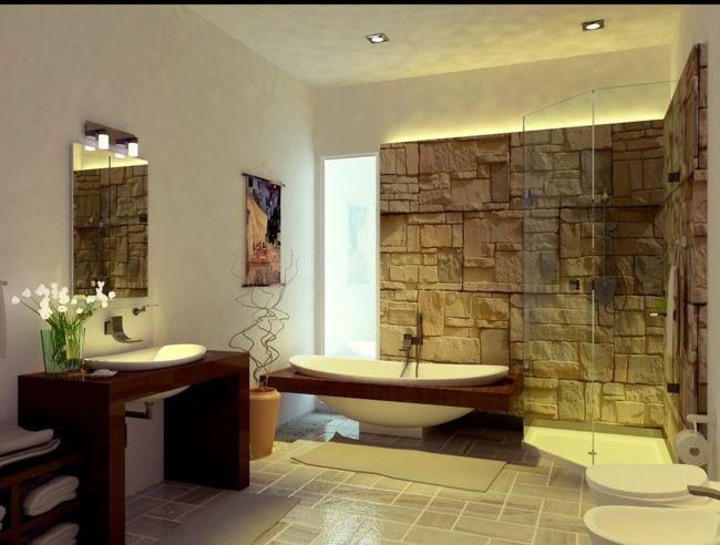 Badezimmer Mit Naturstein naturstein badezimmer holz badewanne steinfliesen rustikale