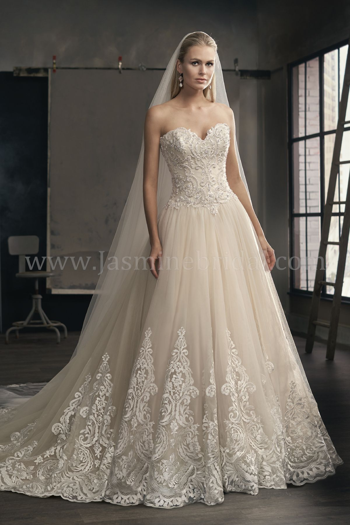 Jasmine Bridal | Couture Style T192065 in Ivory/Vintage | Tulle ...