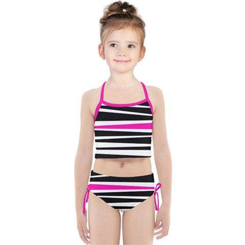 d8c24118f4f4 Girls Rogue Pink Stripe Tankini Swimsuit Set - Black White and Pink Kids' Bathing  Suit - Children's