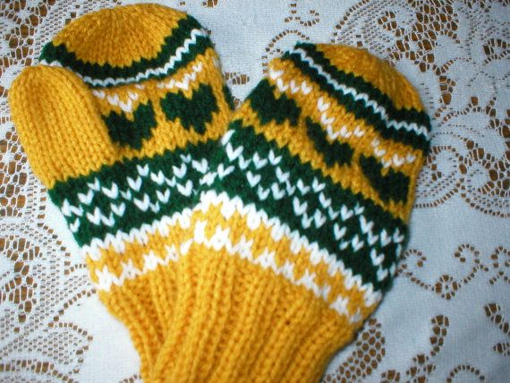 Mittens - Adult - hand knit - Green Bay Packer Green and Gold ...