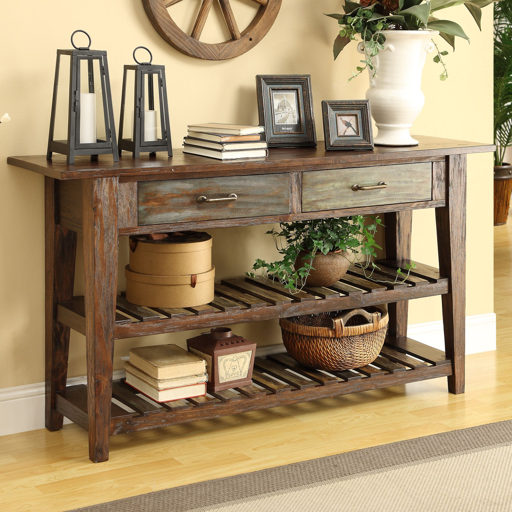 Coast to coast imports courtland console table in brown for Consolas decoracion hogar