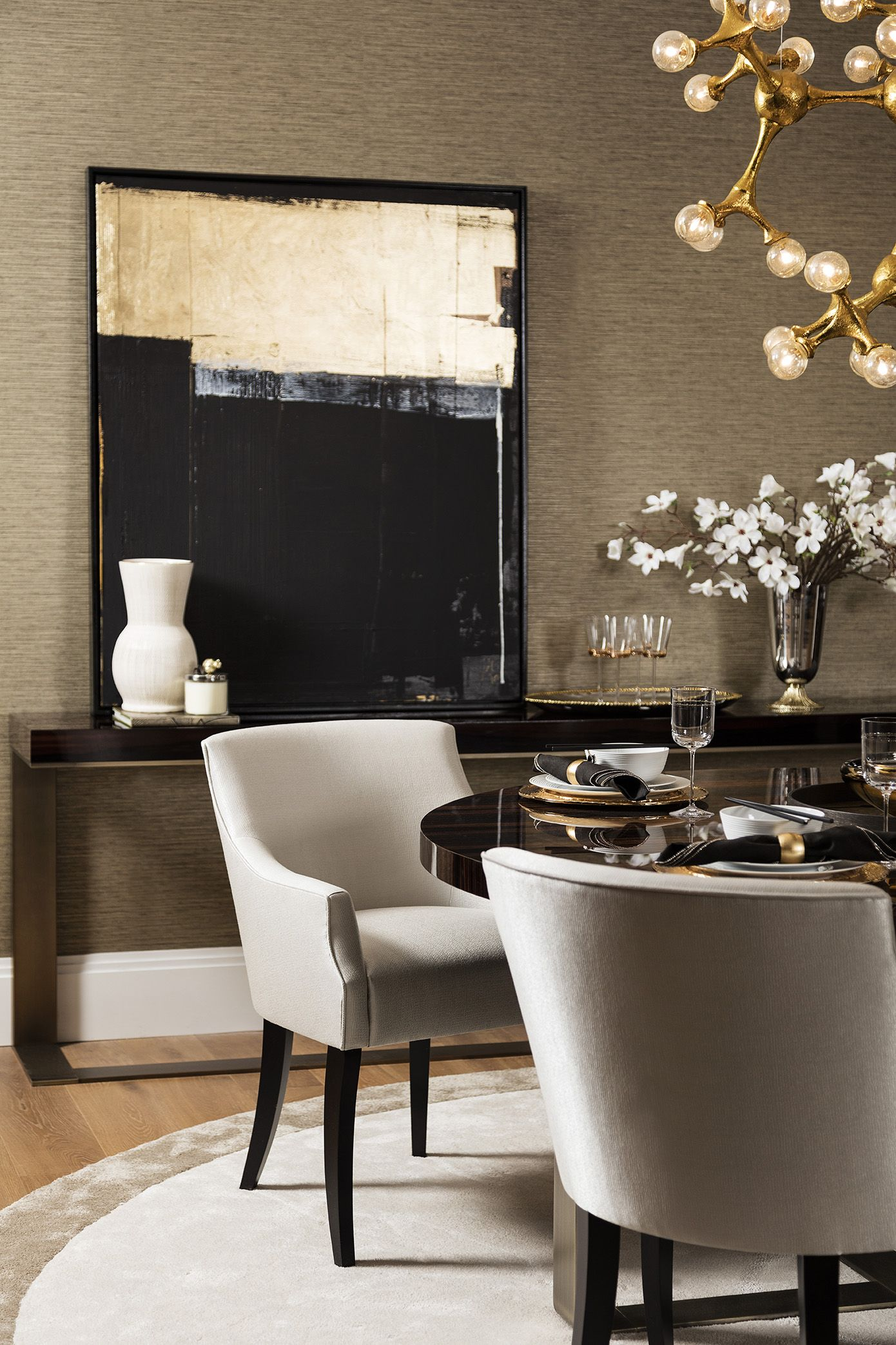 Elliot Carver Luxury Dining Room Chair An Upholstered Dining Chair Featured Here In A Textured Sateen Silver Gr Luxury Dining Room Dining Chairs Luxury Dining Elegant living room chairs