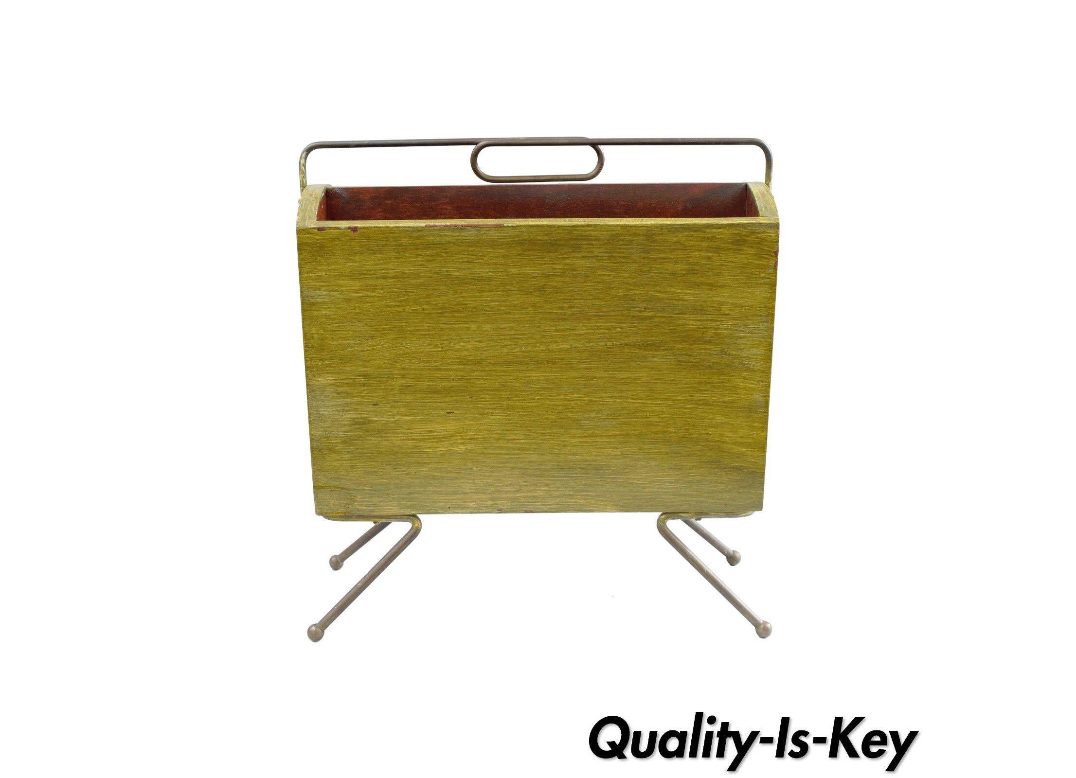 vintage italian mid century modern brass wood atomic magazine rack