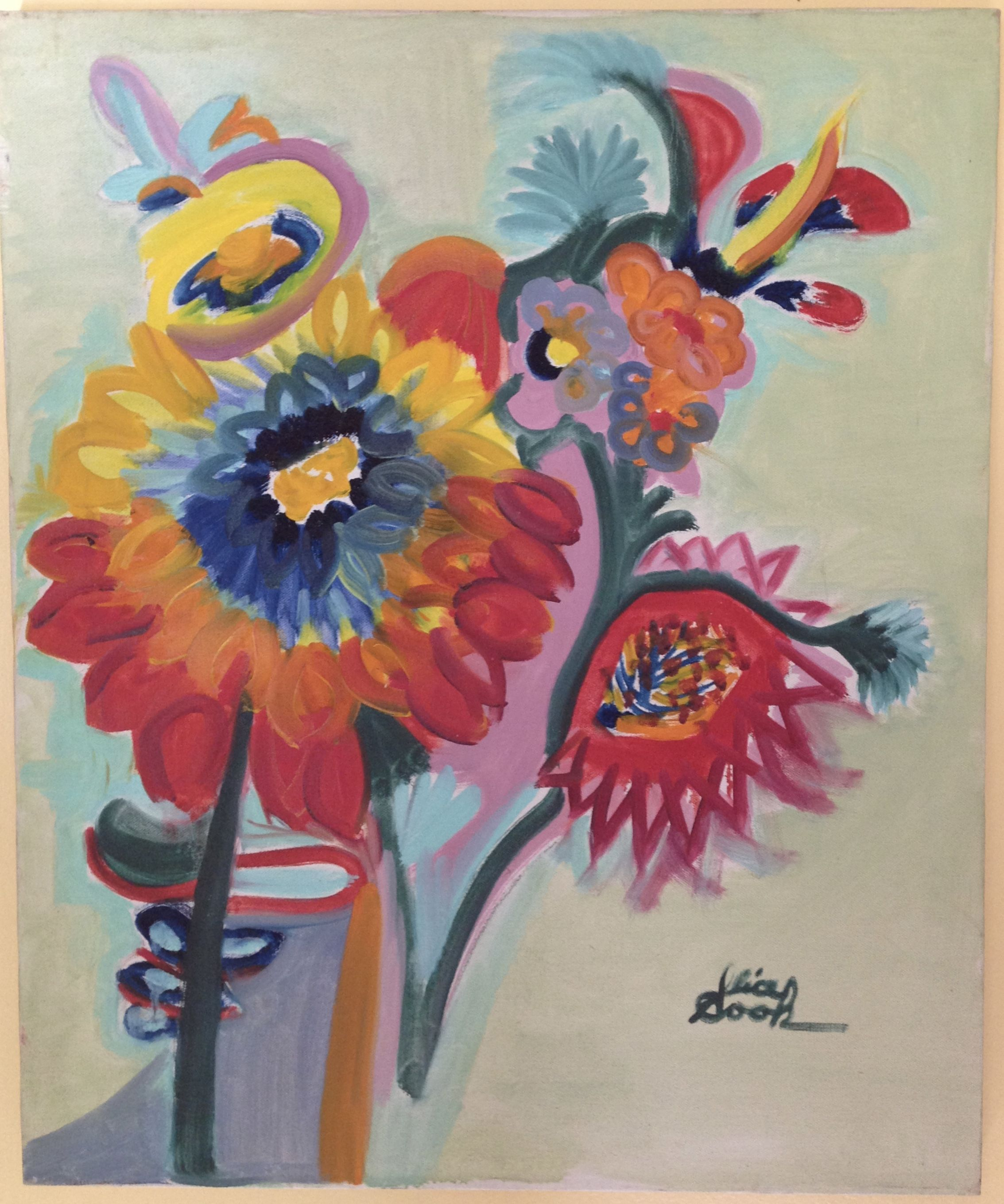 Signed, colorful flowers oil painting from the 1970\'s by Alice Anna ...