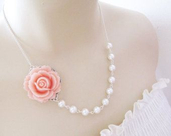 mariée collier mariée collier romantique lumière rose rose fleur