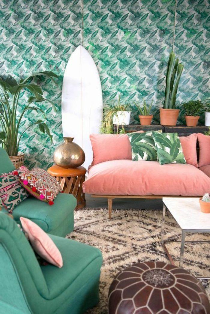 Como Decorar Una Habitacion Sala De Estar En Rosa Y Verde - Decorar ...