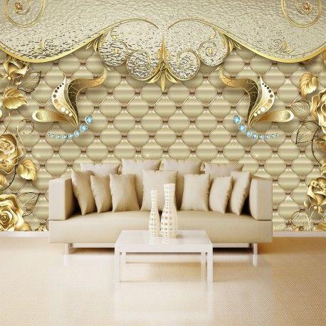 Vlies fototapeten wandtapeten luxus goldene pfingstrose kn-1141