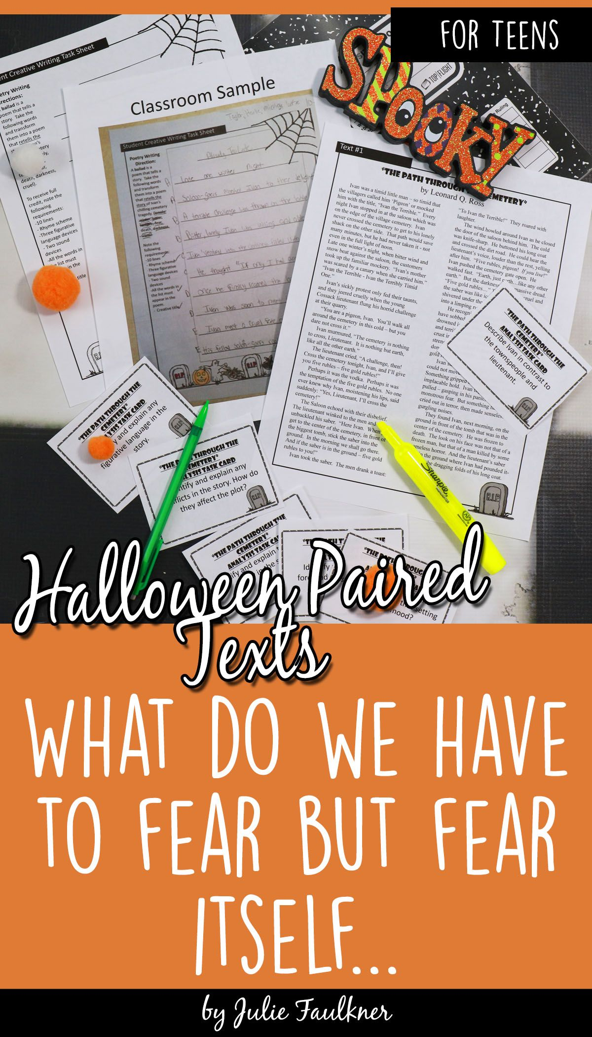 Halloween Activities Paired Text Lesson Cemetery Path