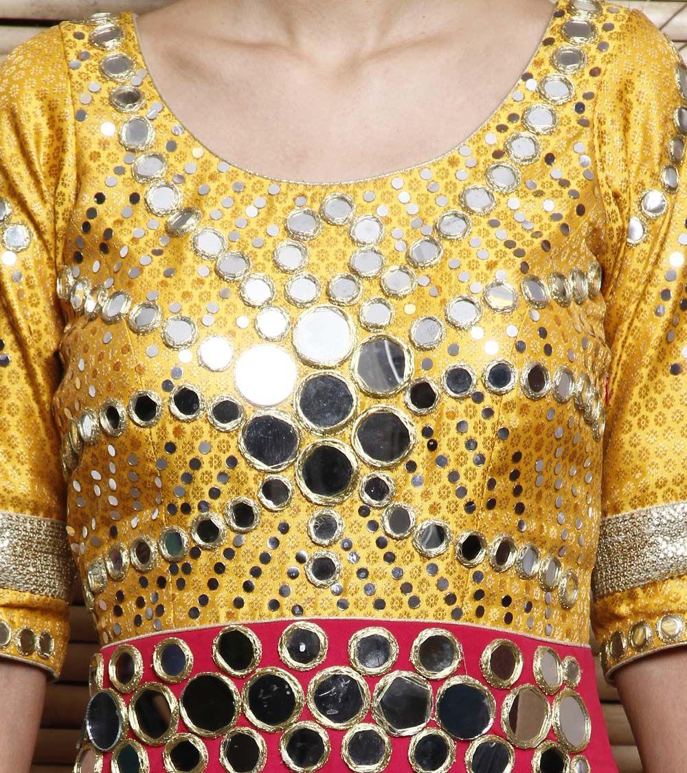 Red & Yellow Net & Brocade Anarkali Suit With Mirror & Zari Work