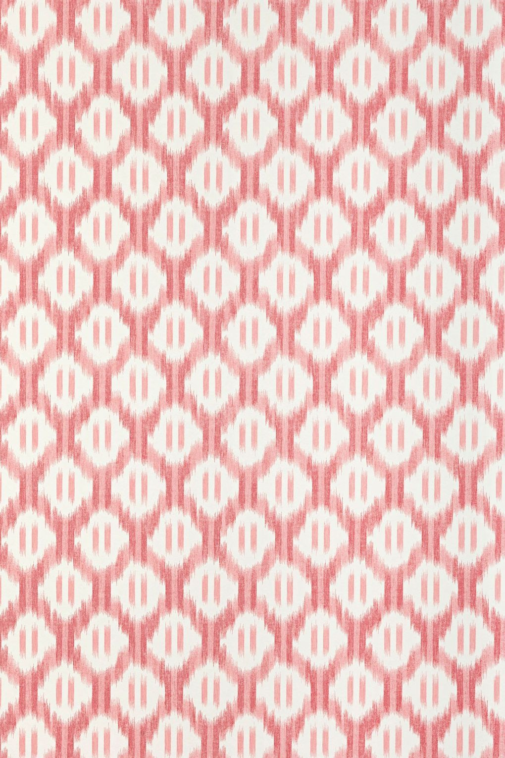 """The pattern of this paper was taken from an ikat toile produced in France in the late 18th century. The rose colourway is a great way of adding pink to a room without a trace of mimsy.  'Leandre' (rose), £91.20 a 10-metre roll, from [link url=""""http://www.pierrefrey.com/""""]Pierre Frey[/link]."""