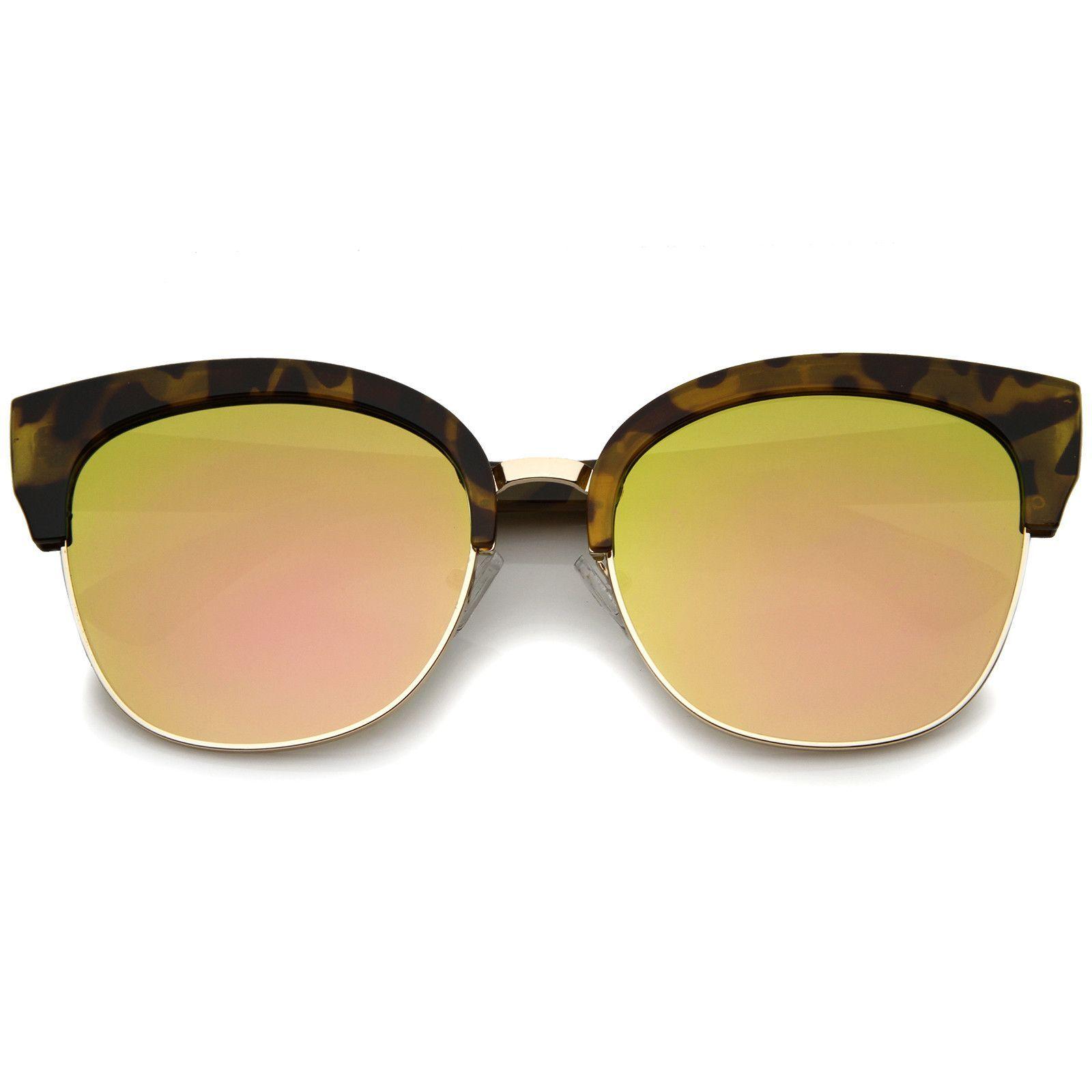 Modern Oversized Half-Frame Color Mirror Flat Lens Cat Eye ...