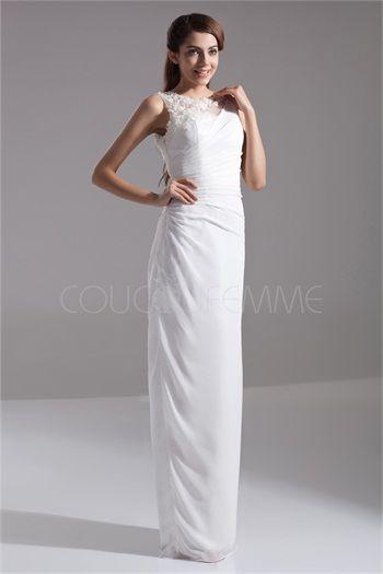 Robe de soirée élégante en chiffon/satin textile élastique  blanche avec dentelle