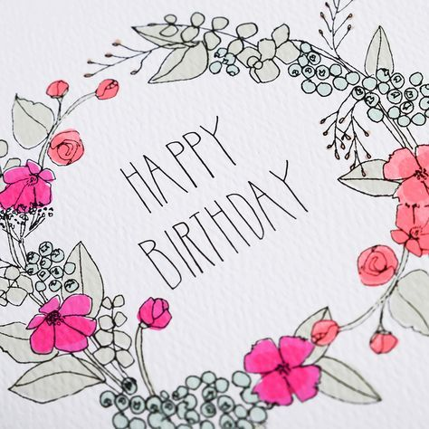 Wreath Birthday Card Furbish Cards Handmade Hand Lettering Cards