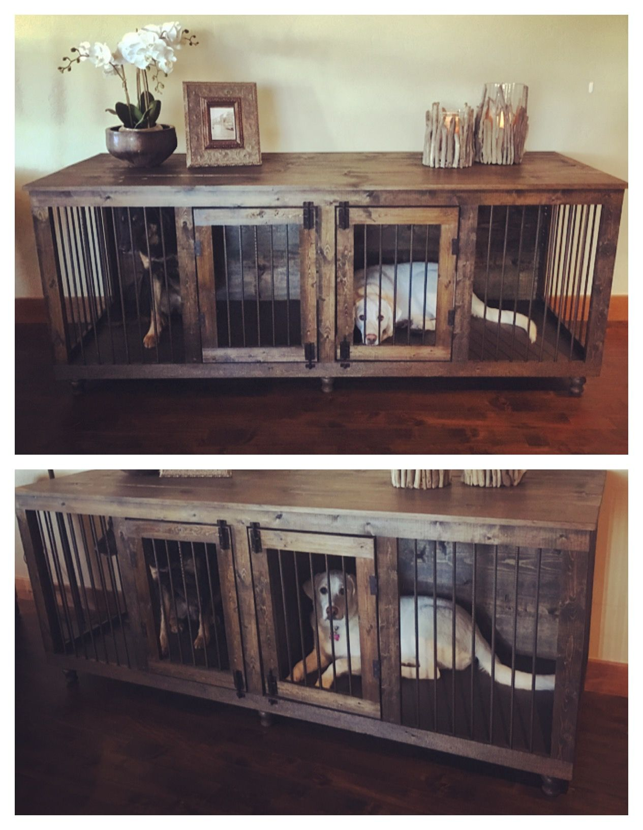 Xl Double Kennel Fits Up To Two 90 Pound Fur Babies Dog Crate Furniture Dog Rooms Diy Dog Bed