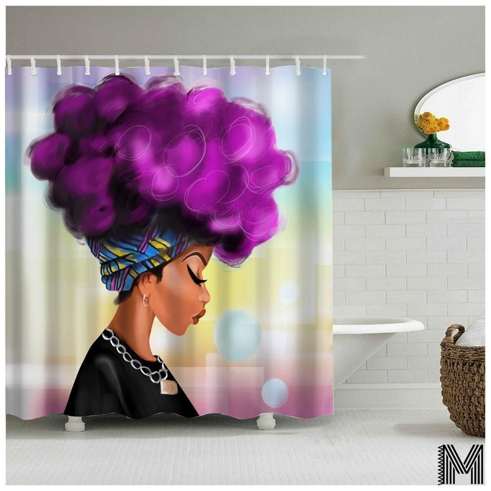 Afro Girl Shower Curtain With Images Girls Shower Curtain