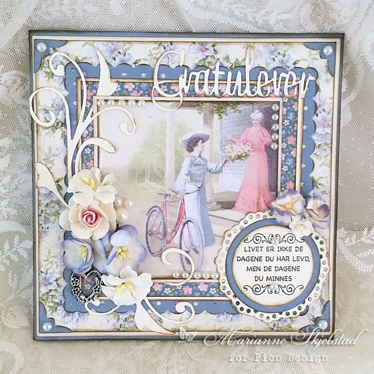 I am so glad about the newPatchwork of Life collection, with its patterned sheets and amazing images. Here is my first card made from this collection. Have a wonderful Summer day, Marianne. Pion p…