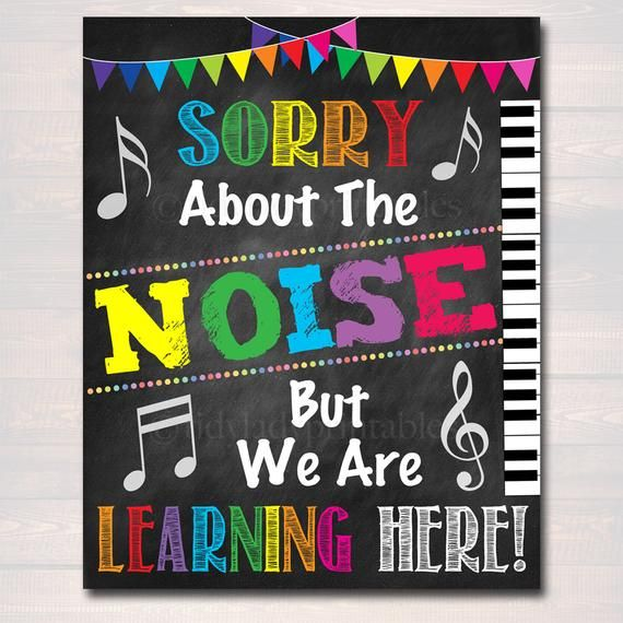 Music Teacher Classroom Printable Poster, Classroom Decor Sorry About The Noise We Are Learning, Music Teacher Gfts, INSTANT DOWNLOAD Art #classroomdecor