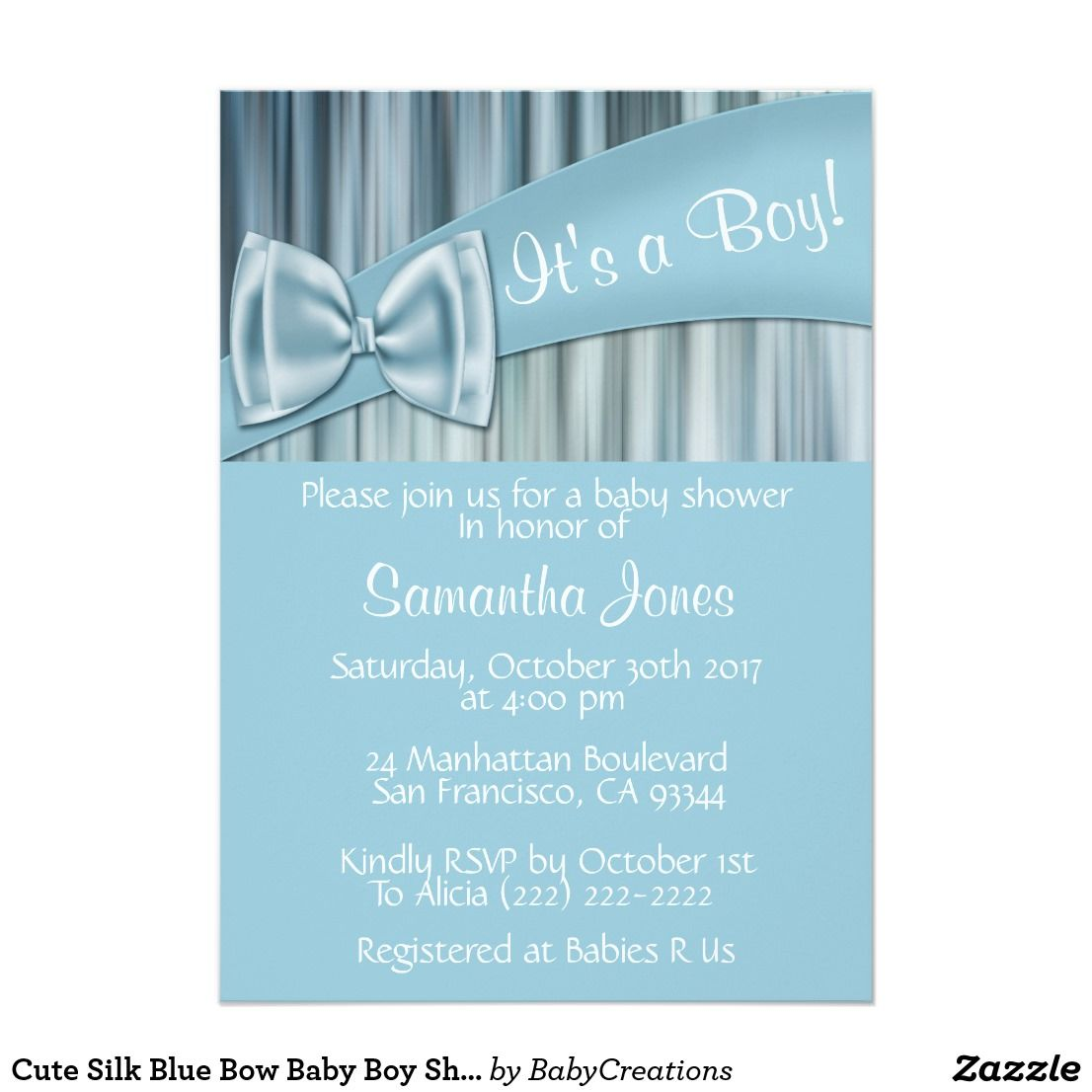 Cute Silk Blue Bow Baby Boy Shower Invitations How cute is this baby ...