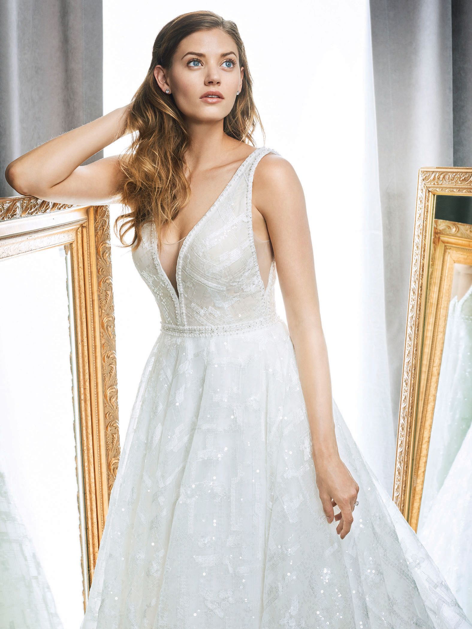 Kenneth Winston Style 1709   sequin wedding dress with illusion ...