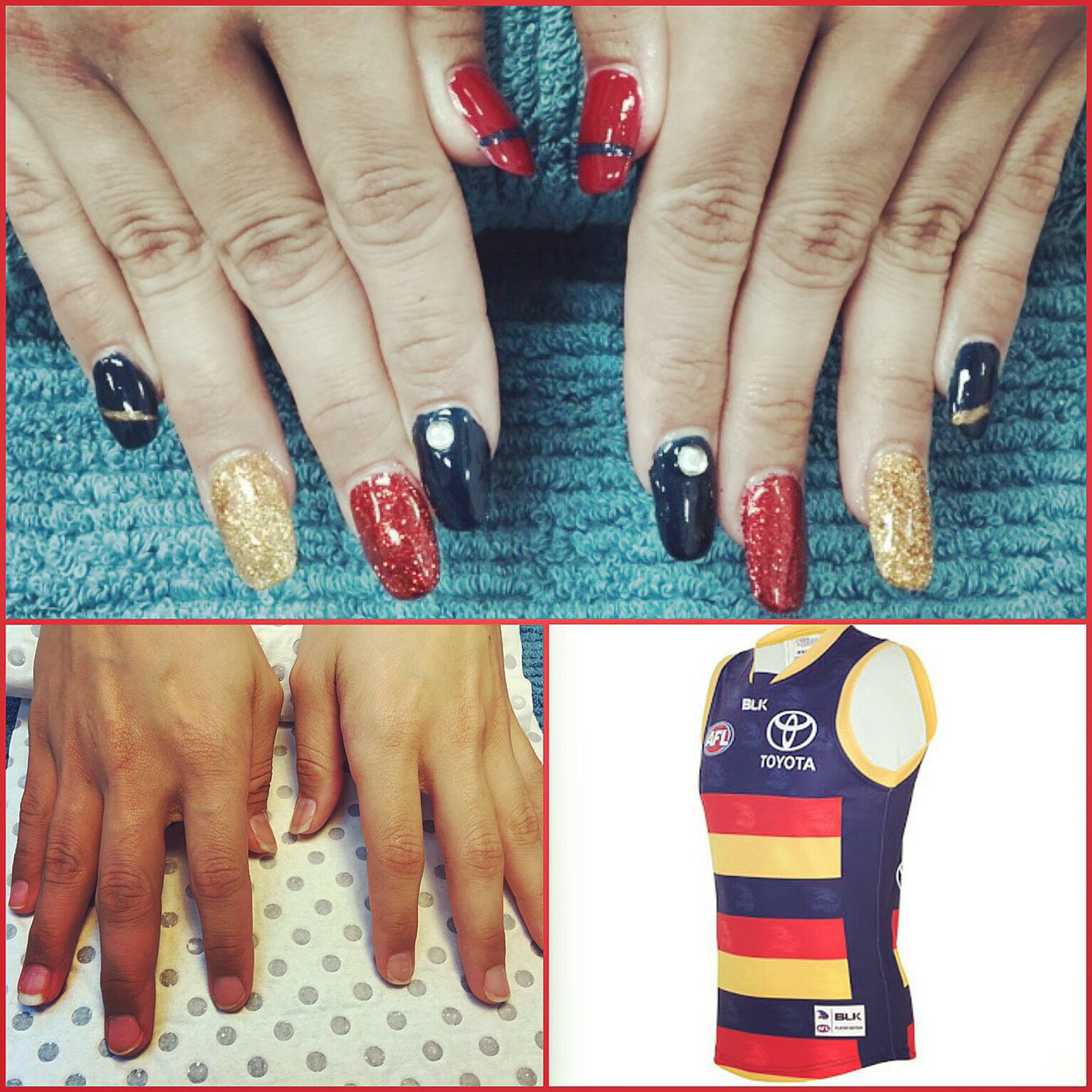 Adelaide Crows Injured Nail Art Nails Done By Me Pinterest