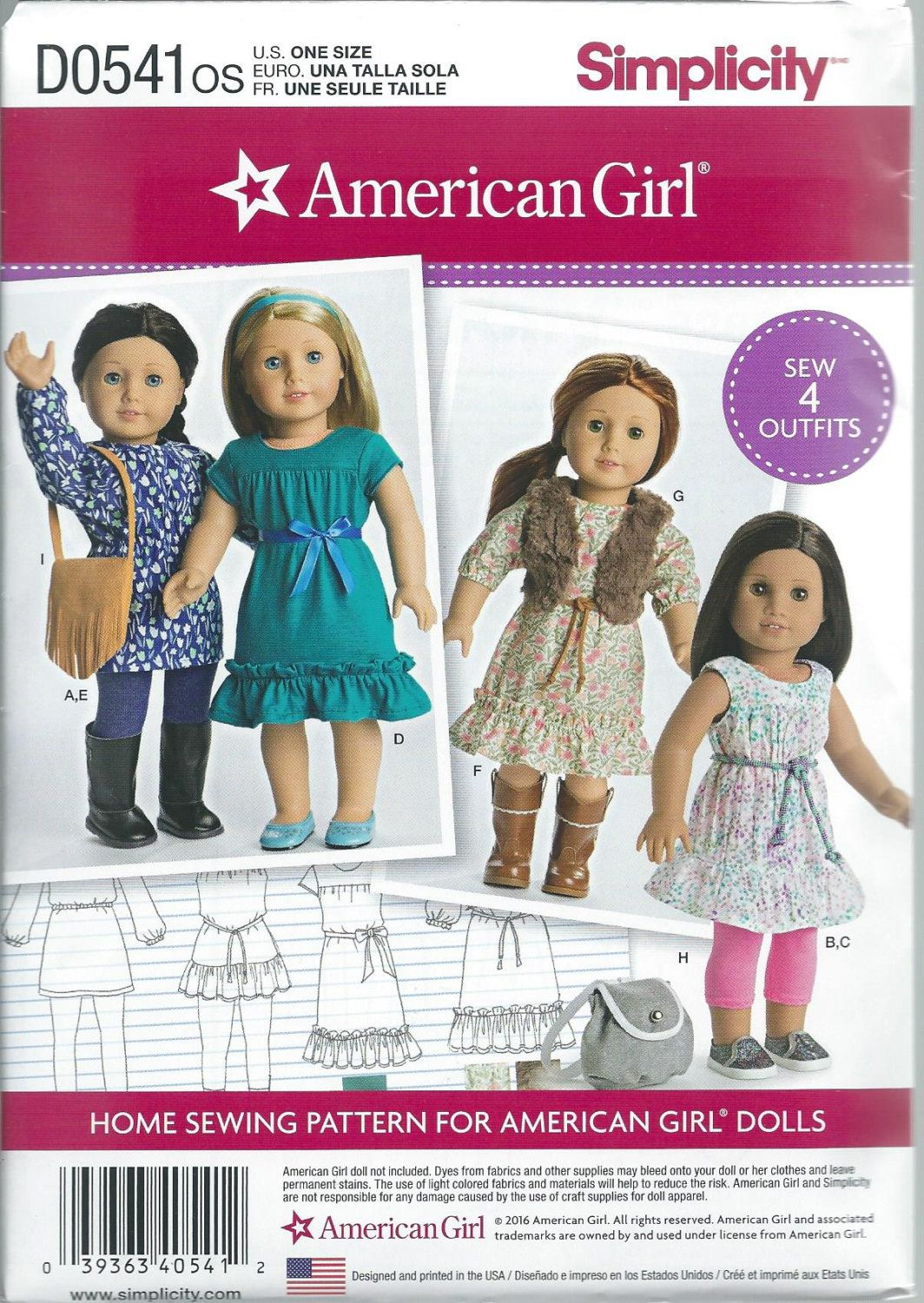 SIMPLICITY sewing pattern  8359-modern western dresses-American Girl doll-new