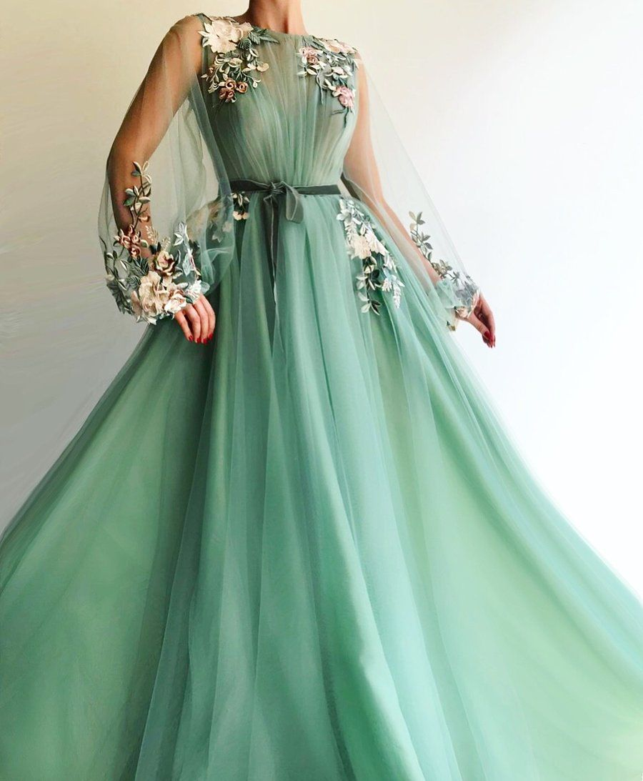 99654cc006869 Details - Light green color - Tulle fabric - Handmade embroidery flowers -  Ball-gown dress with long sleeves - Party and evening dress