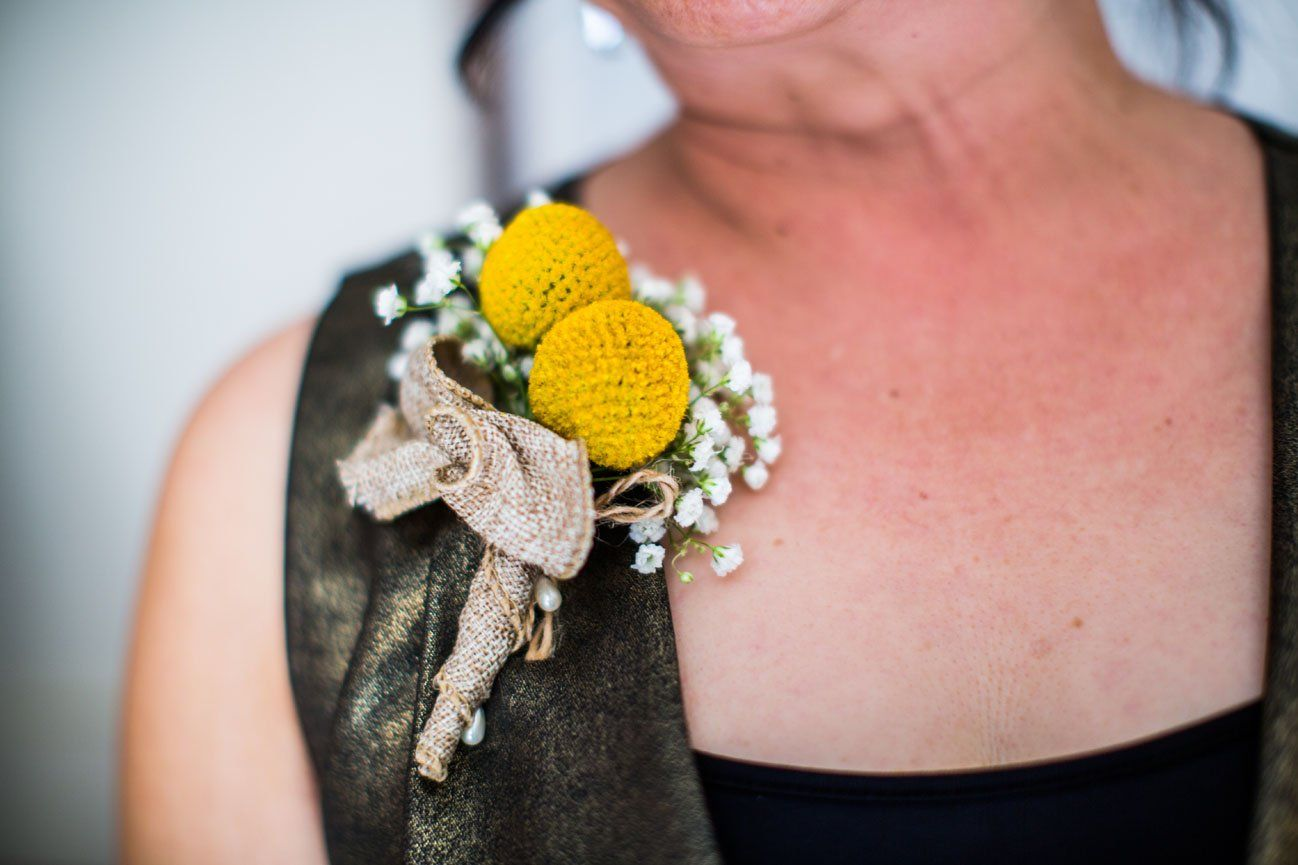 Rustic yellow corsage of Craspedia by Signature Bloom, florist in ...