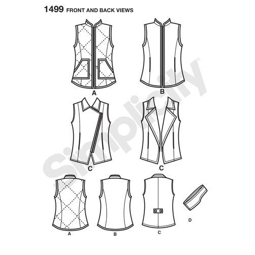 Sewing Pattern for Misses/Womens Vest in 4 Styles & Headband Pattern ...