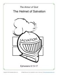 Helmet Of Salvation Coloring Page Armor Of God Armor Of God