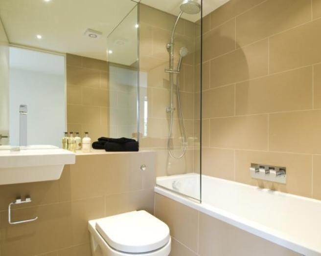 Attractive Beige And White Bathroom Ideas Part - 4: Photo Of Beige White Bathroom With Bath Floating Sink Shower Tiles