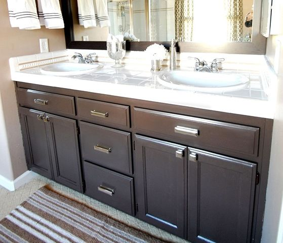 Bathroom · bathroom cabinets after paint ... - Bathroom Q & A + GIVEAWAY! Paint Colors, Gray Cabinets And Vanities