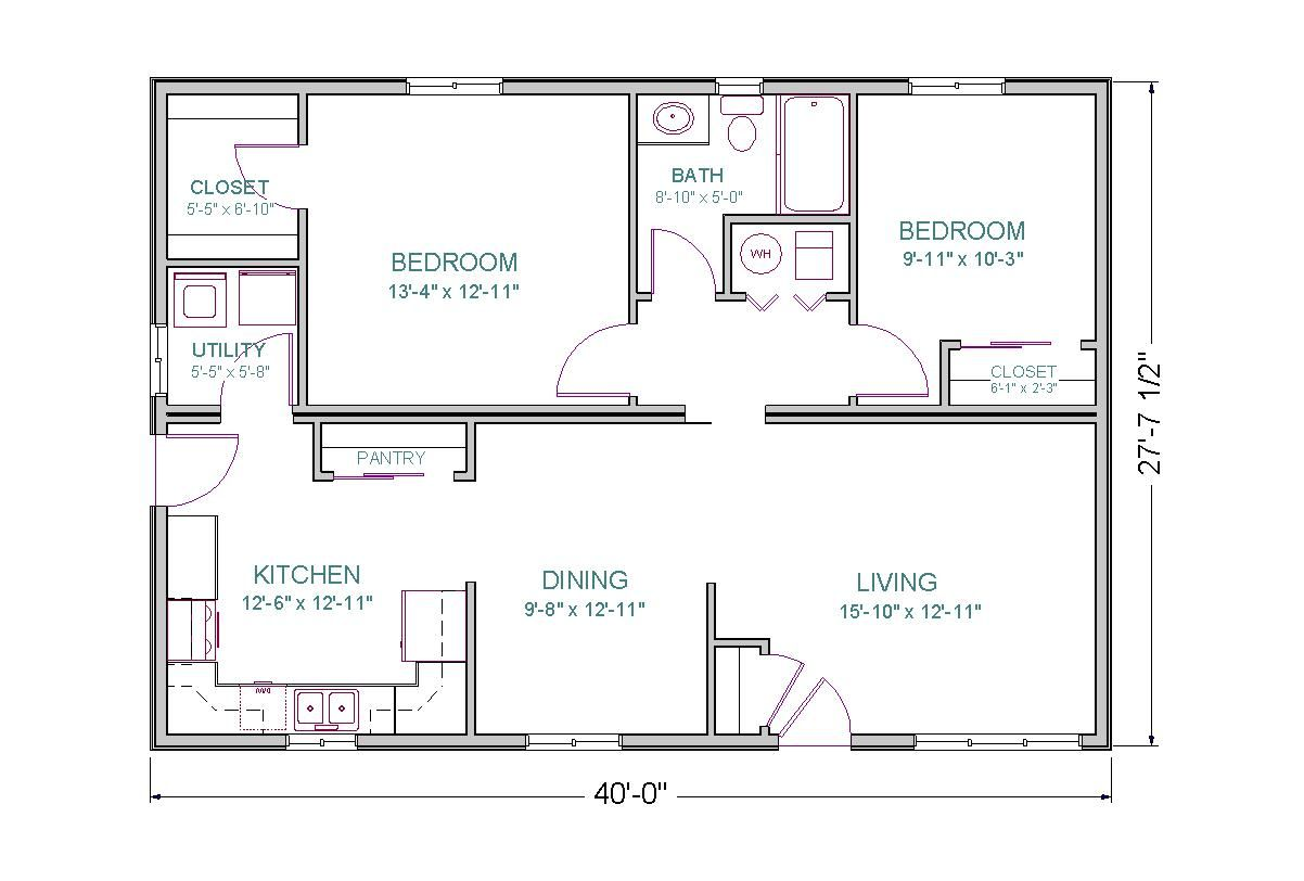 Sq Ft House Plans Open Floor Plan 2 Bedrooms