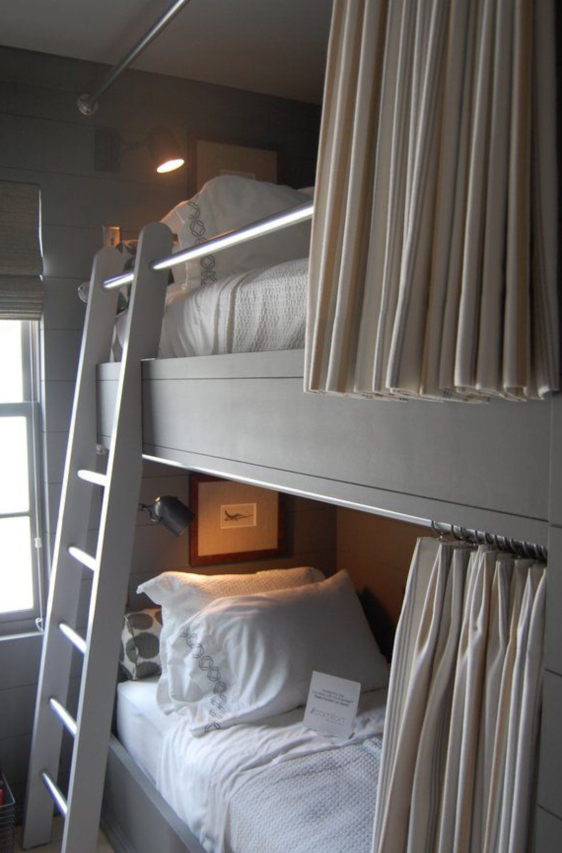 Loft bed privacy ideas  I like the curtain running across the bed  Bedroom Ideas