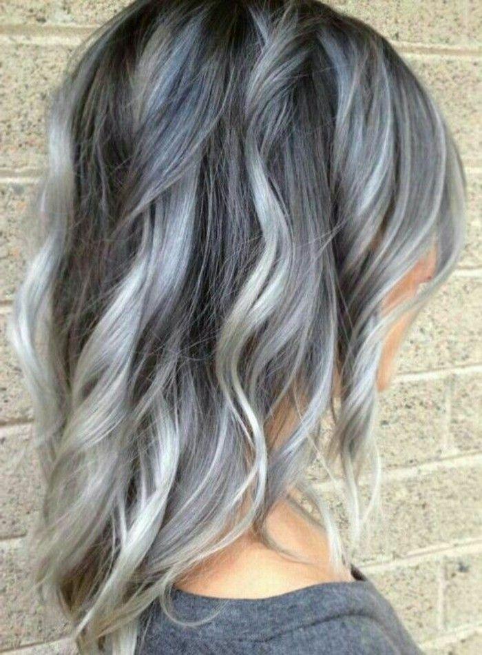 Bildergebnis fr braune haare graue strhnen  Bobs  Haar
