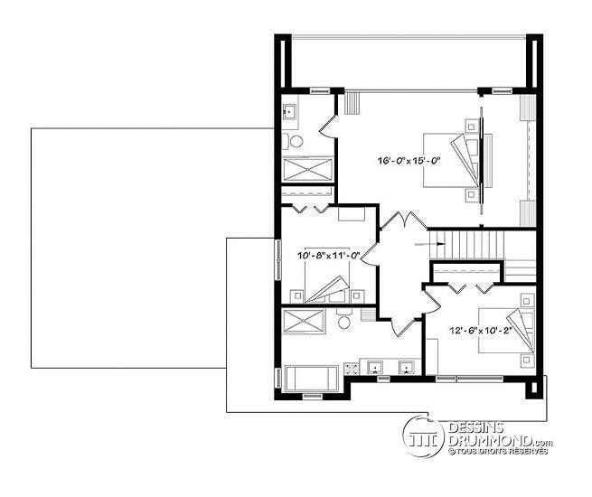 Plan de Étage Maison cubique contemporaine avec garage double, 3