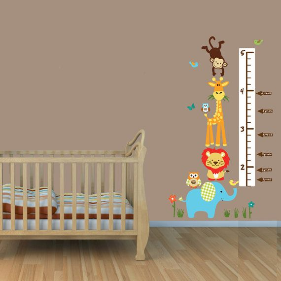 Repositionable Jungle Growth Chart Decals By Nurserydecalsnmore
