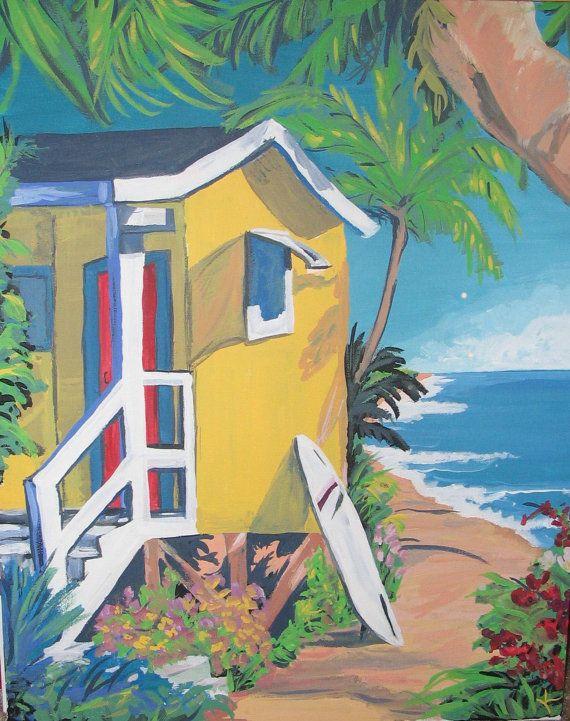 Beach House- Colorful Beach House Surf Painting Print | Beach ...