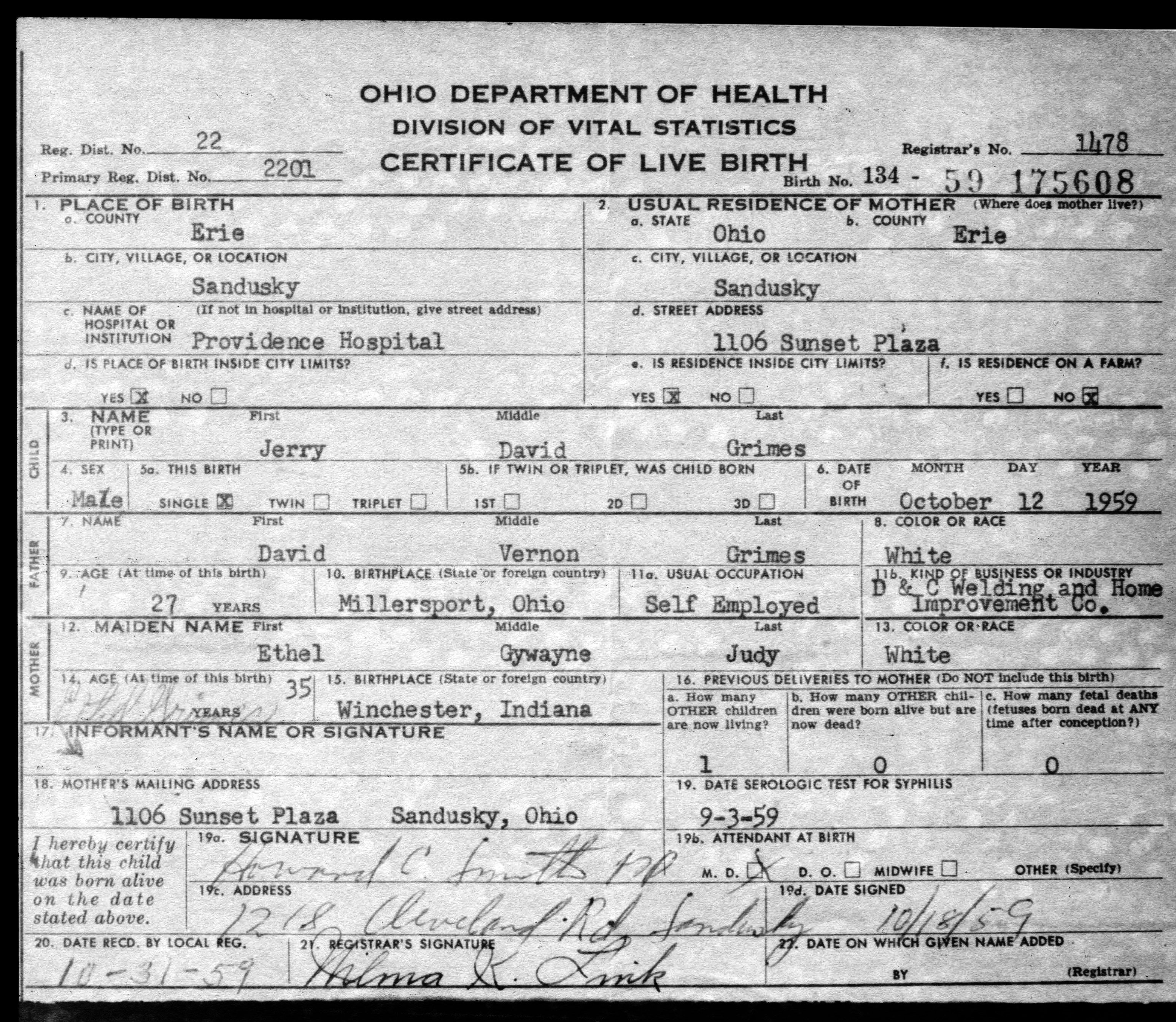 Blank Birth Certificate Ohio